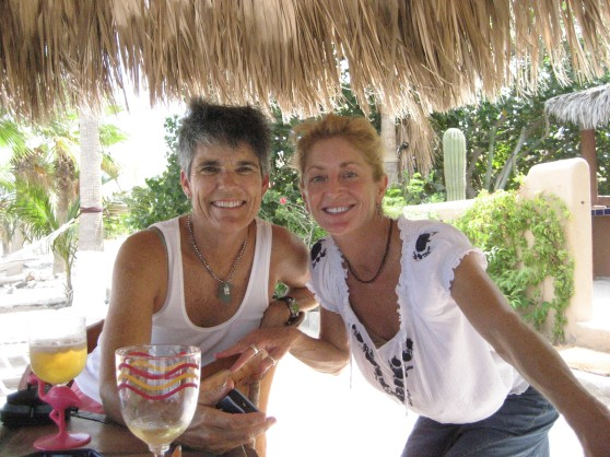 Betsy & Cathy under the palapa