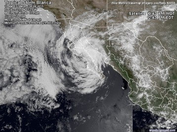 Satellite Imagery, Hurricane Blanca, 10:43AM, Loreto