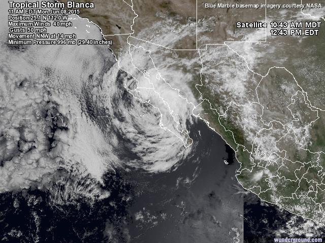 Satellite Imagery, Hurricane Blanca, 10:43AM, Loreto